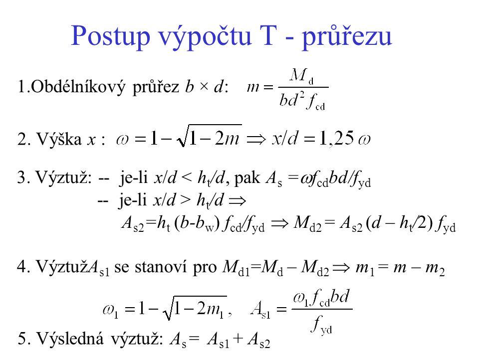 Postup výpočtu T - průřezu