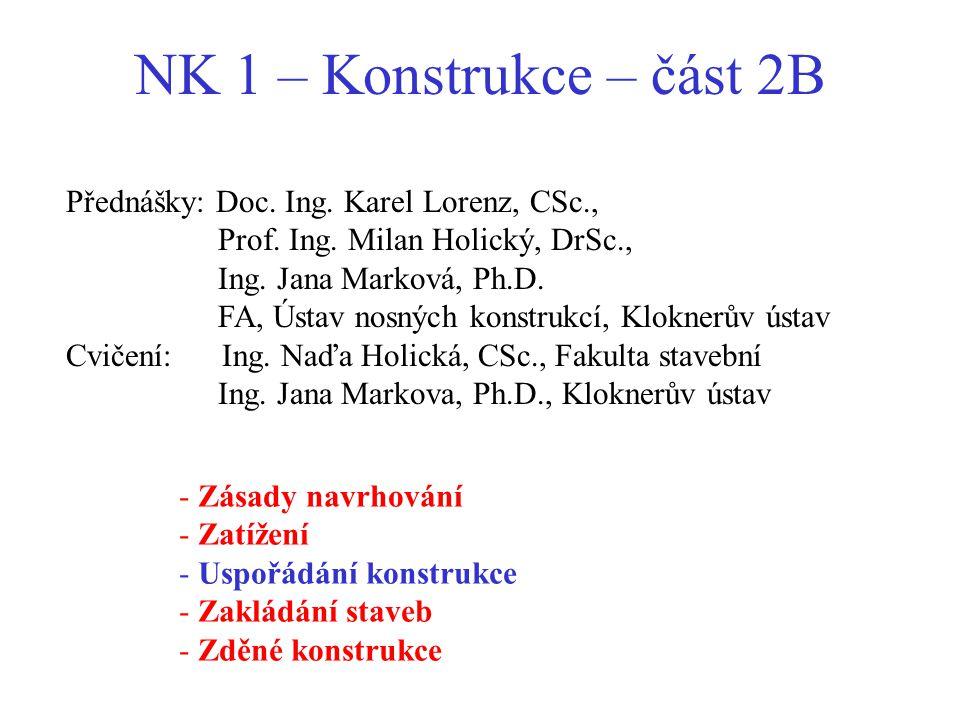 NK 1 – Konstrukce – část 2B Přednášky: Doc. Ing. Karel Lorenz, CSc.,
