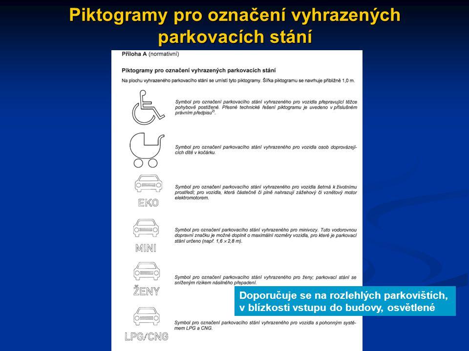 Piktogramy pro označení vyhrazených parkovacích stání