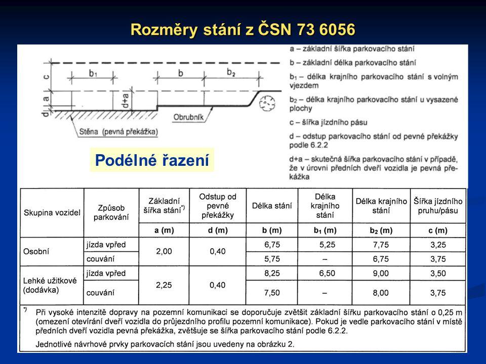 Rozměry stání z ČSN 73 6056 Podélné řazení