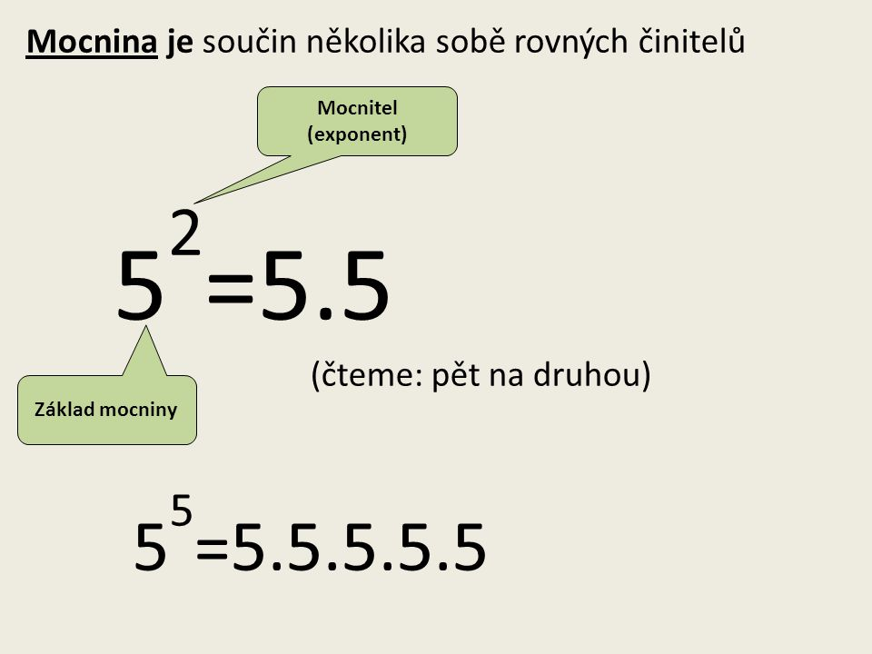 Mocnina je součin několika sobě rovných činitelů 52=5