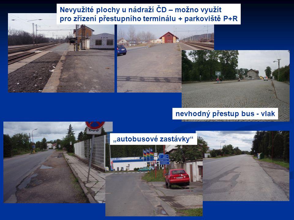 Nevyužité plochy u nádraží ČD – možno využít pro zřízení přestupního terminálu + parkoviště P+R