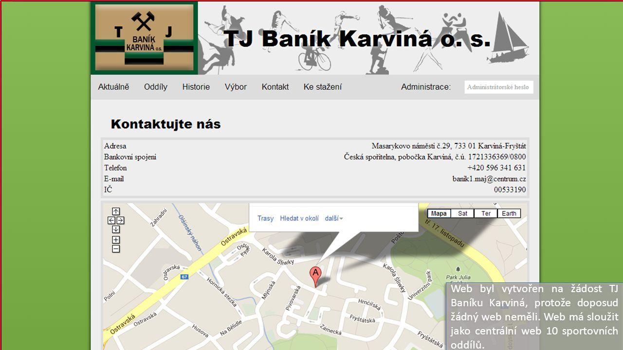 Web byl vytvořen na žádost TJ Baníku Karviná, protože doposud žádný web neměli.