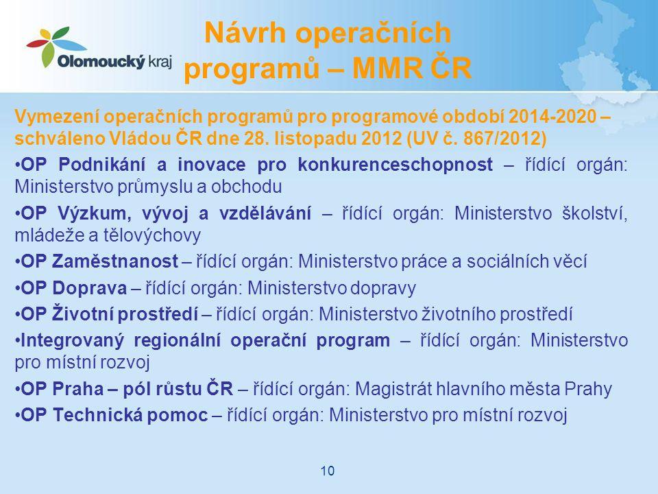 Návrh operačních programů – MMR ČR