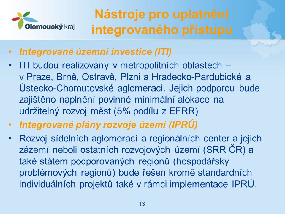 Nástroje pro uplatnění integrovaného přístupu
