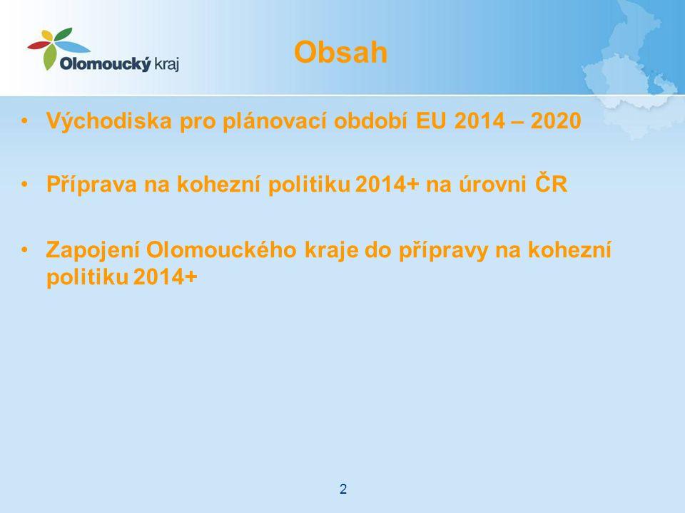 Obsah Východiska pro plánovací období EU 2014 – 2020
