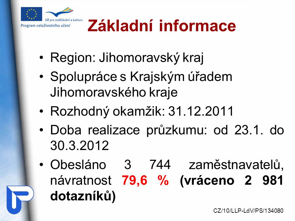 Základní informace Region: Jihomoravský kraj