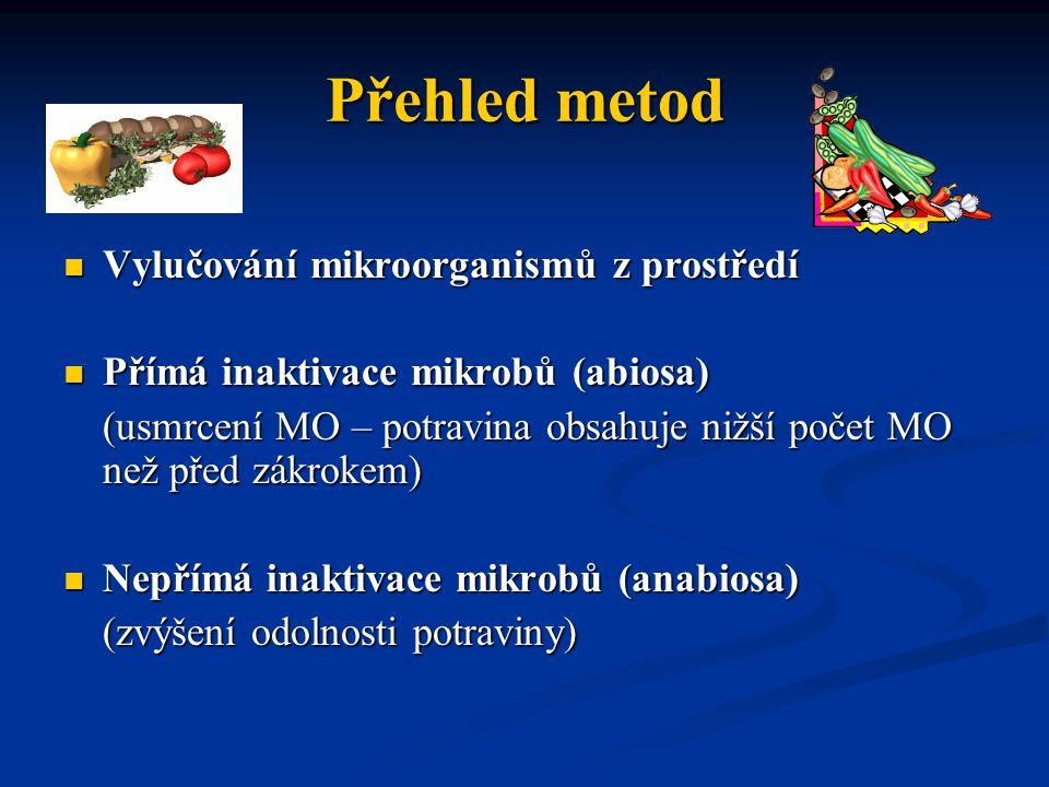 Přehled metod Vylučování mikroorganismů z prostředí