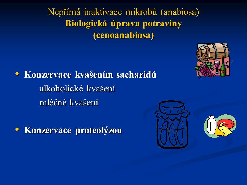 Nepřímá inaktivace mikrobů (anabiosa) Biologická úprava potraviny (cenoanabiosa)