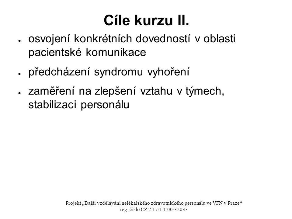 Cíle kurzu II. osvojení konkrétních dovedností v oblasti pacientské komunikace. předcházení syndromu vyhoření.