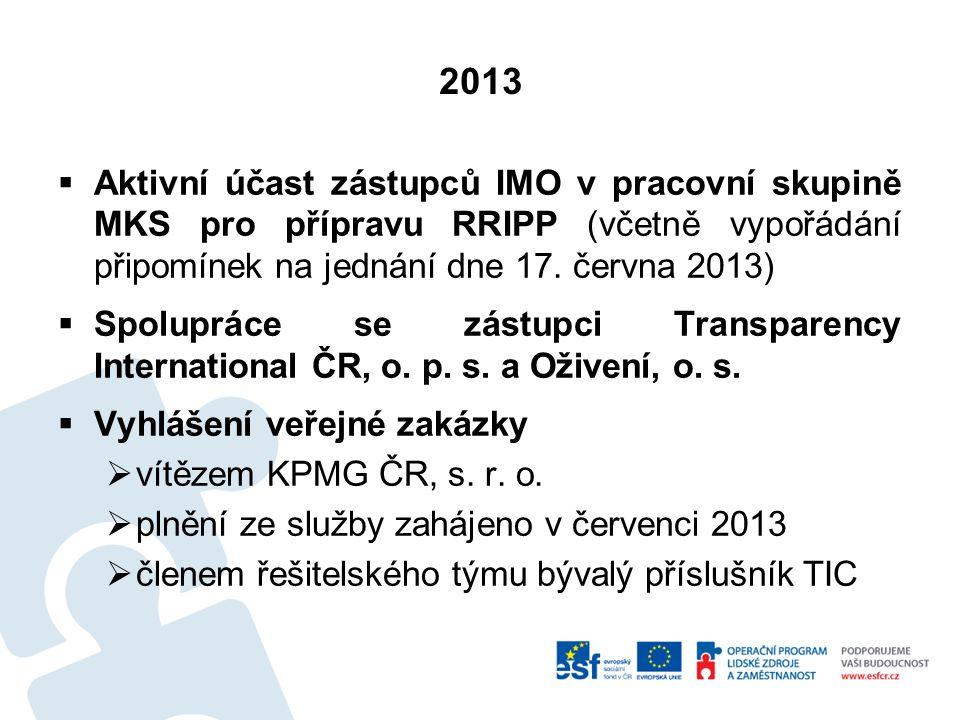 2013 Aktivní účast zástupců IMO v pracovní skupině MKS pro přípravu RRIPP (včetně vypořádání připomínek na jednání dne 17. června 2013)