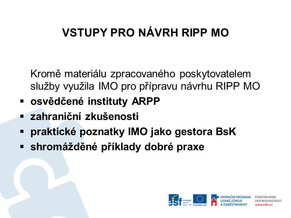 VSTUPY PRO NÁVRH RIPP MO