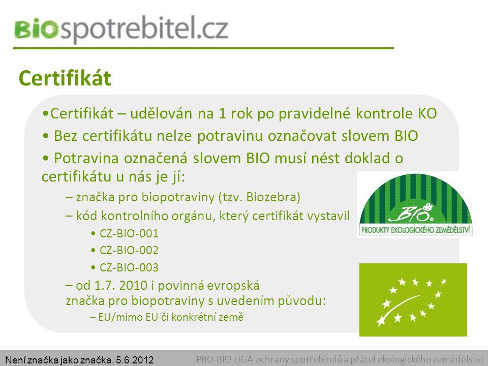 Certifikát Certifikát – udělován na 1 rok po pravidelné kontrole KO