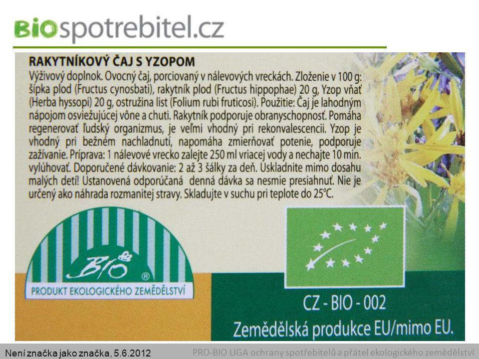Certifikát Není značka jako značka, 5.6.2012.