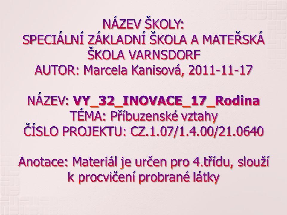 NÁZEV ŠKOLY: SPECIÁLNÍ ZÁKLADNÍ ŠKOLA A MATEŘSKÁ ŠKOLA VARNSDORF AUTOR: Marcela Kanisová, 2011-11-17 NÁZEV: VY_32_INOVACE_17_Rodina TÉMA: Příbuzenské vztahy ČÍSLO PROJEKTU: CZ.1.07/1.4.00/21.0640 Anotace: Materiál je určen pro 4.třídu, slouží k procvičení probrané látky