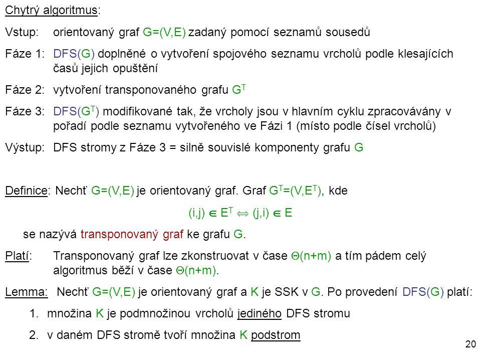 Chytrý algoritmus: Vstup: orientovaný graf G=(V,E) zadaný pomocí seznamů sousedů.