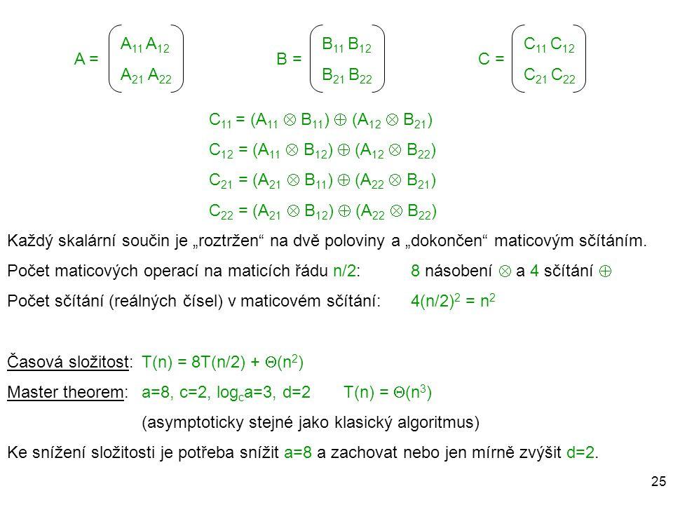 A = B = C = C11 = (A11  B11)  (A12  B21) C12 = (A11  B12)  (A12  B22) C21 = (A21  B11)  (A22  B21)