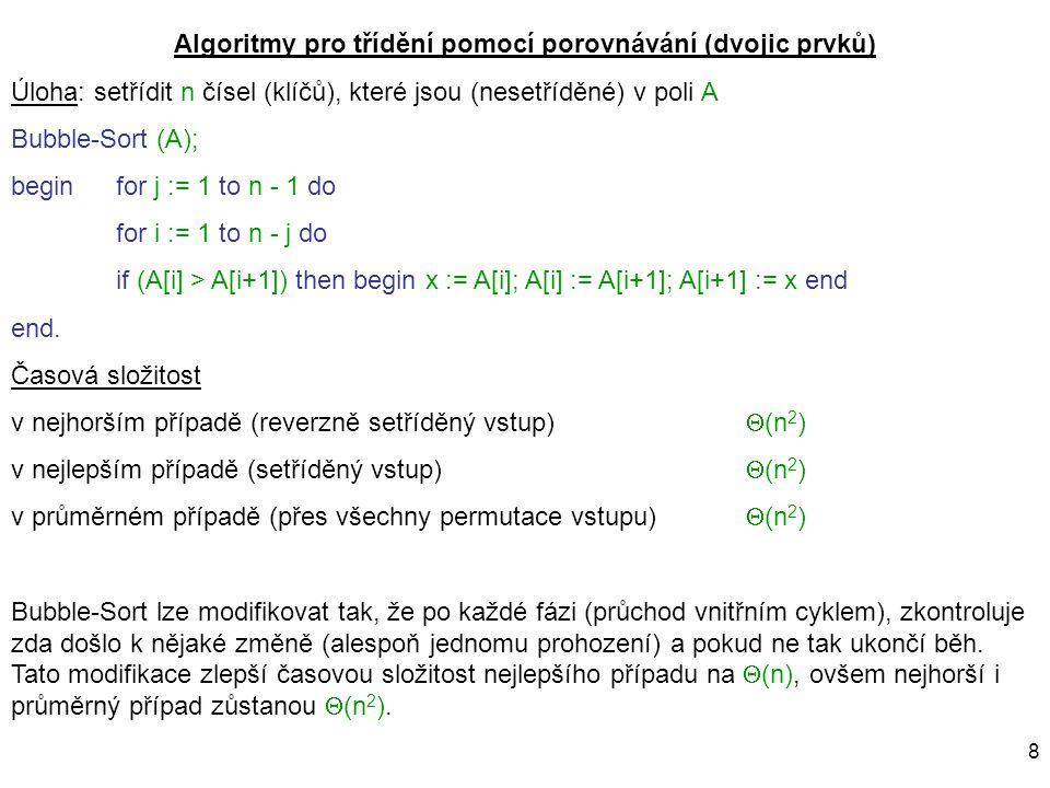Algoritmy pro třídění pomocí porovnávání (dvojic prvků)