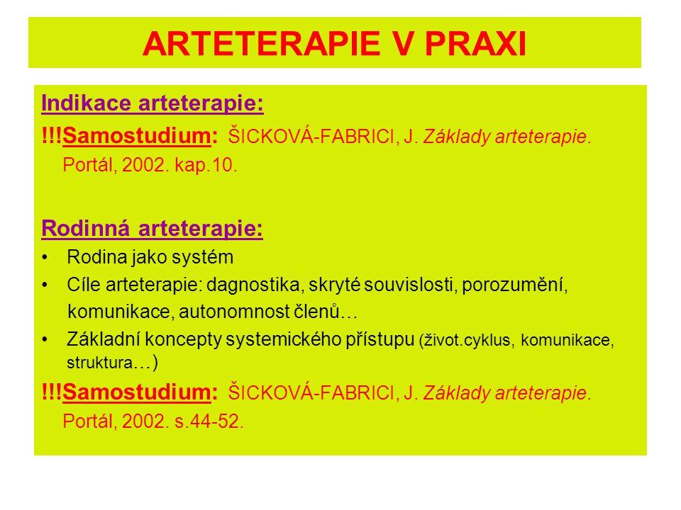 ARTETERAPIE V PRAXI Indikace arteterapie: