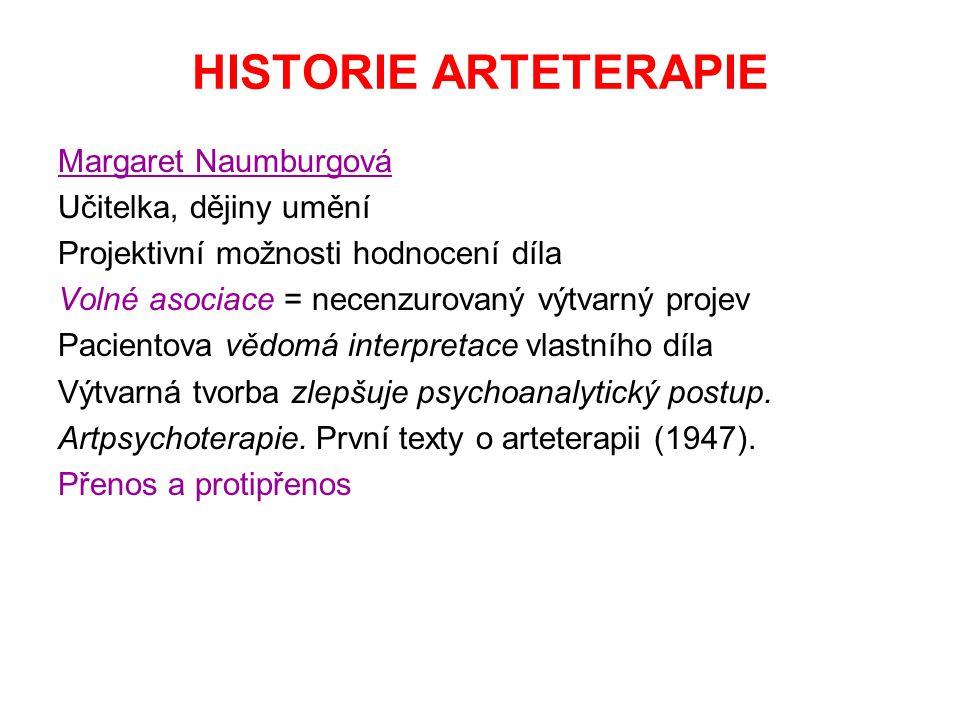 HISTORIE ARTETERAPIE Margaret Naumburgová Učitelka, dějiny umění
