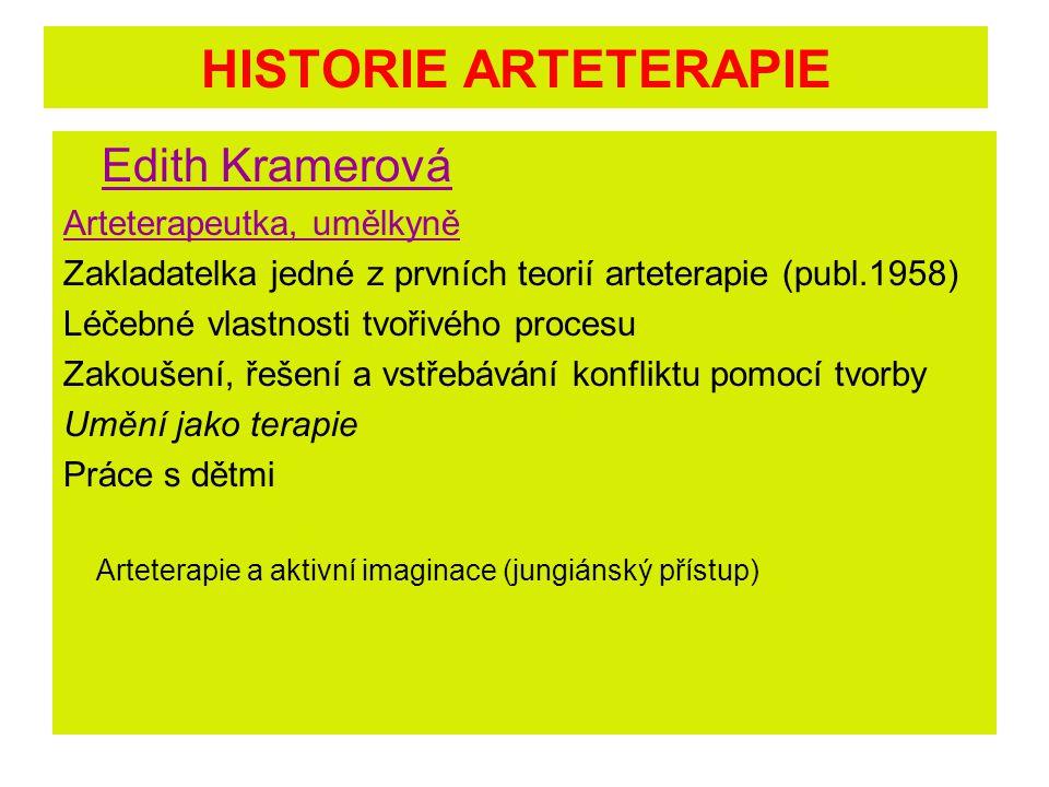 HISTORIE ARTETERAPIE Edith Kramerová Arteterapeutka, umělkyně