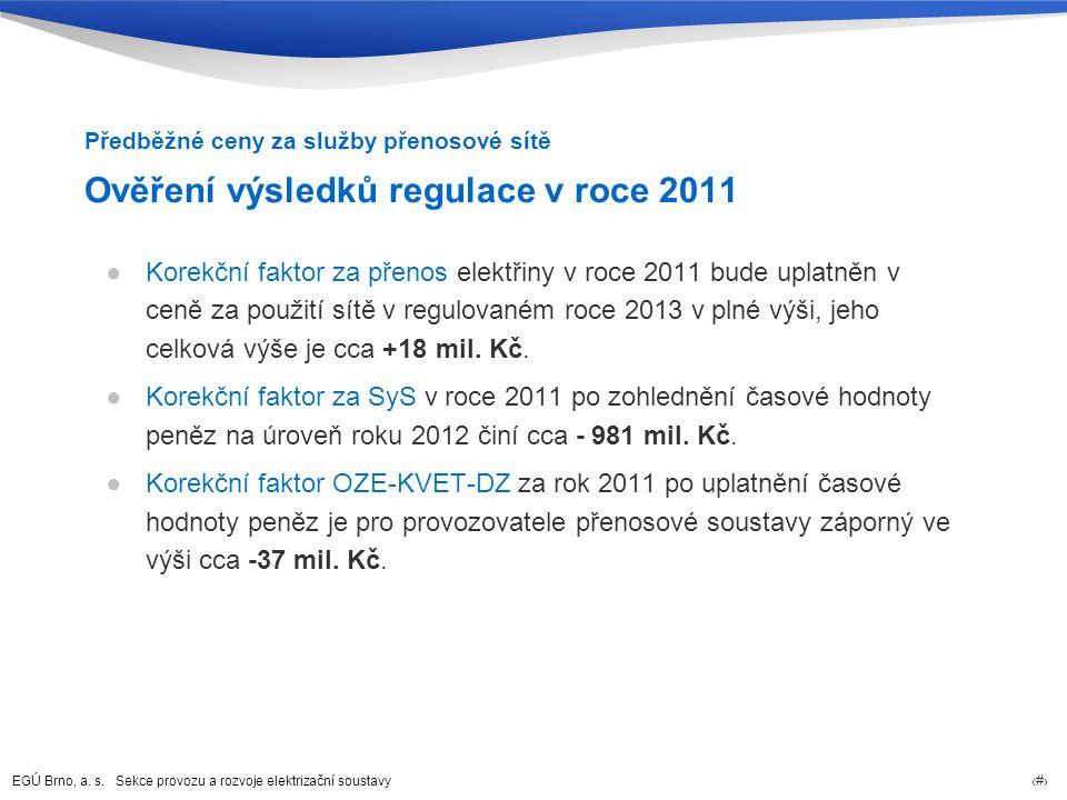 Ověření výsledků regulace v roce 2011