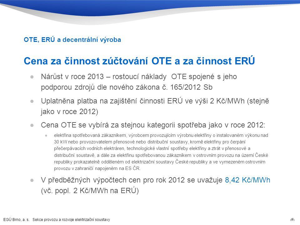 Cena za činnost zúčtování OTE a za činnost ERÚ