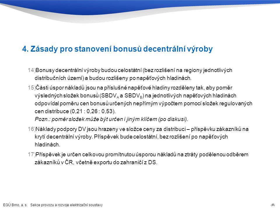 4. Zásady pro stanovení bonusů decentrální výroby