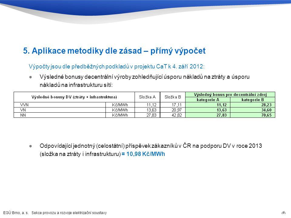 5. Aplikace metodiky dle zásad – přímý výpočet