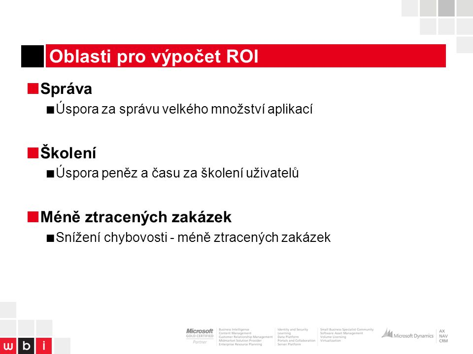 Oblasti pro výpočet ROI
