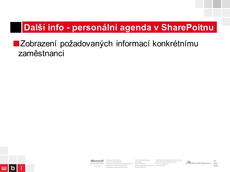 Další info - personální agenda v SharePoitnu