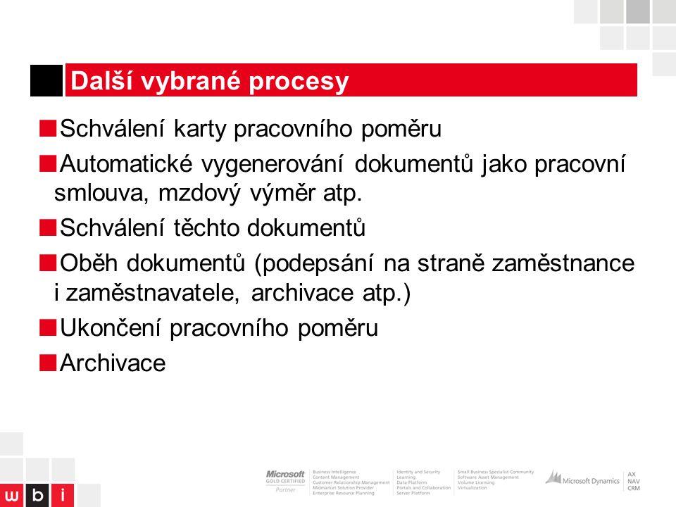 Další vybrané procesy Schválení karty pracovního poměru
