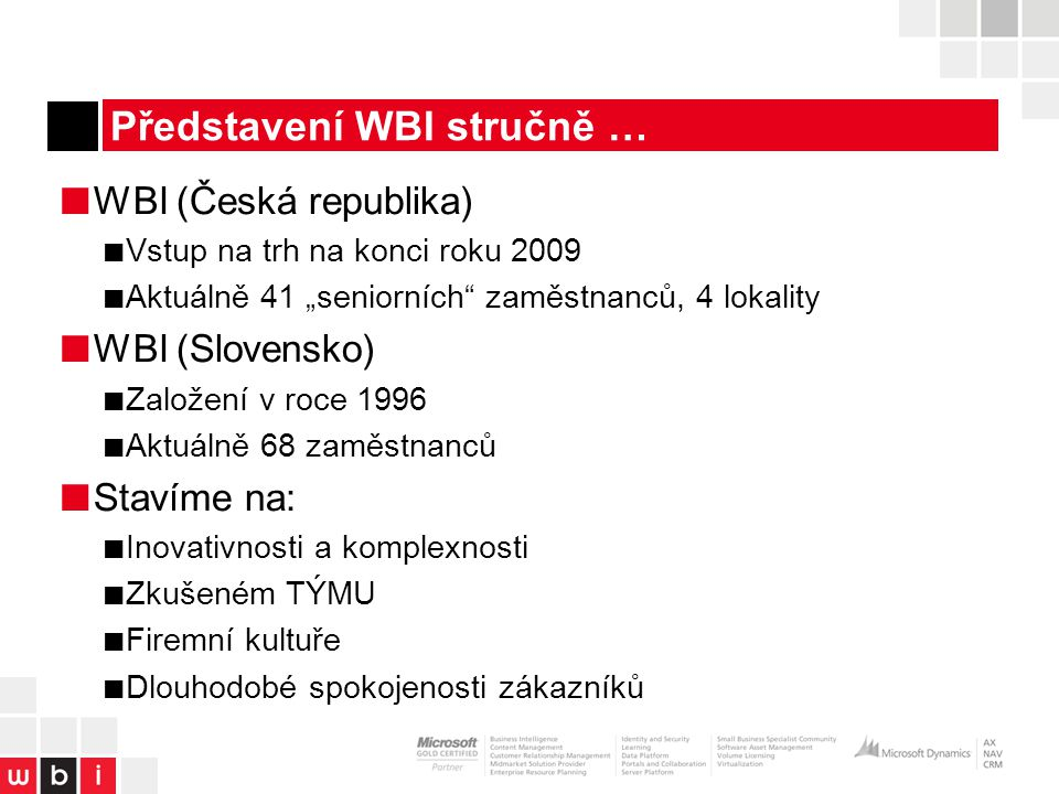Představení WBI stručně …
