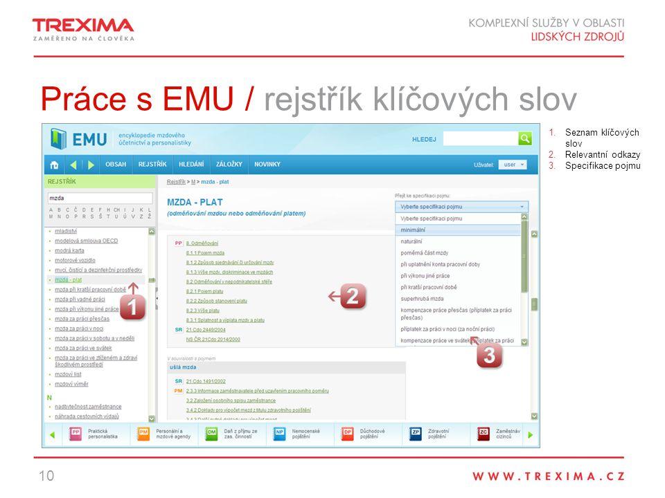 Práce s EMU / rejstřík klíčových slov