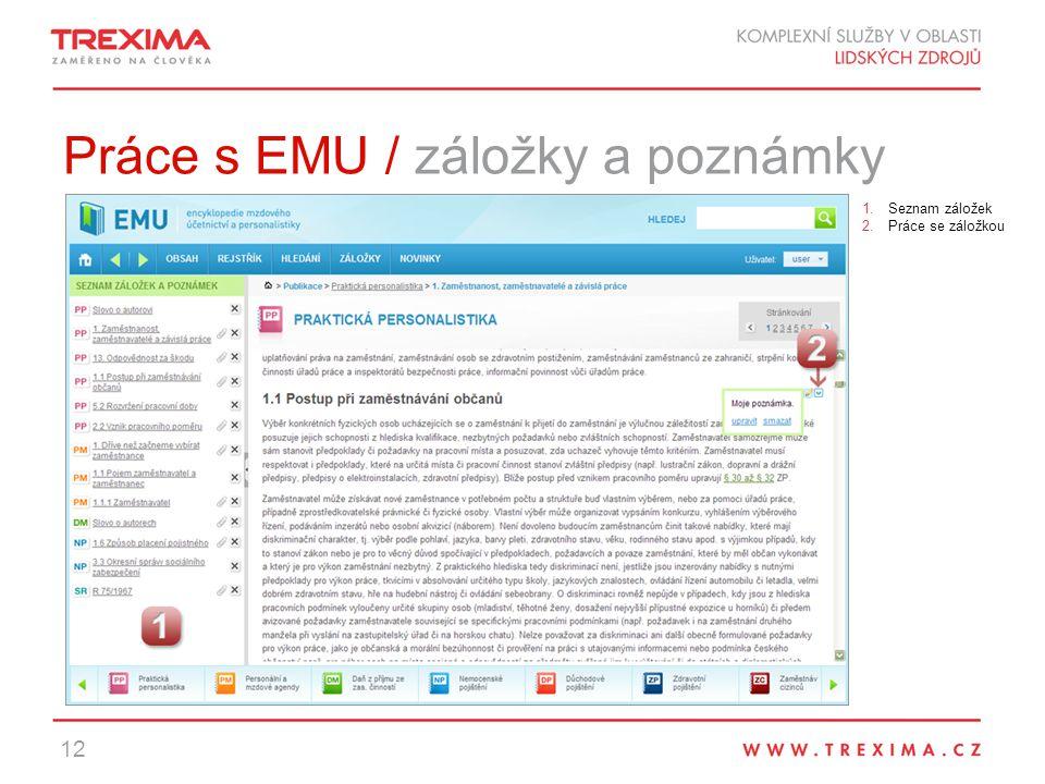Práce s EMU / záložky a poznámky