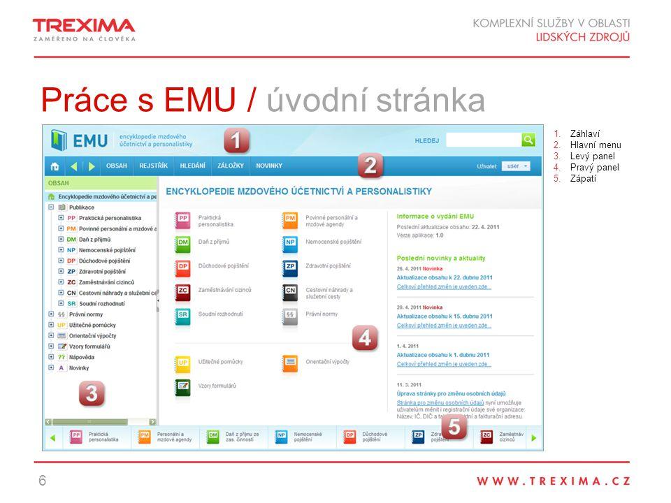 Práce s EMU / úvodní stránka