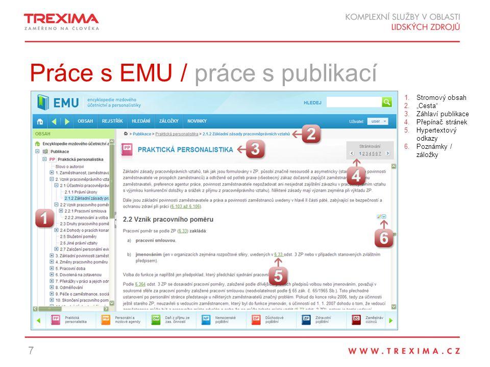 Práce s EMU / práce s publikací