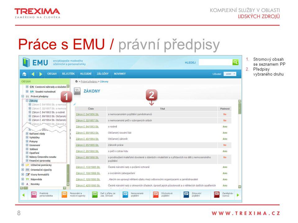 Práce s EMU / právní předpisy