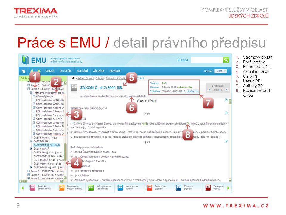 Práce s EMU / detail právního předpisu