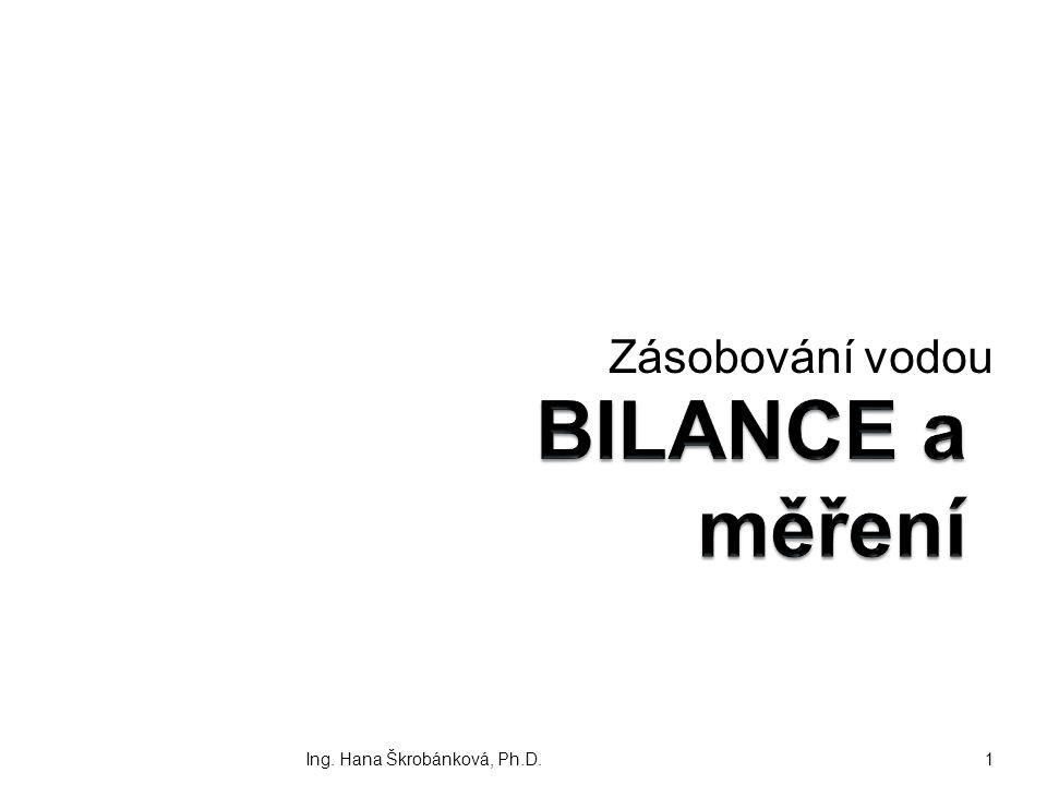 Zásobování vodou BILANCE a měření Ing. Hana Škrobánková, Ph.D.