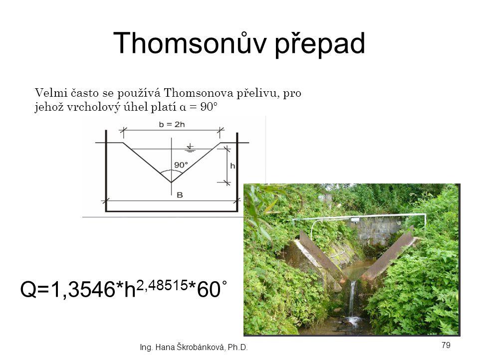 Thomsonův přepad Q=1,3546*h2,48515*60˚