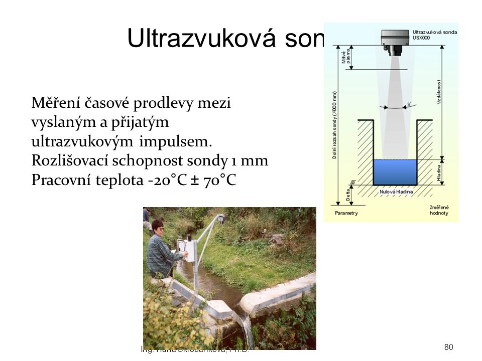 Ultrazvuková sonda Měření časové prodlevy mezi vyslaným a přijatým ultrazvukovým impulsem. Rozlišovací schopnost sondy 1 mm.