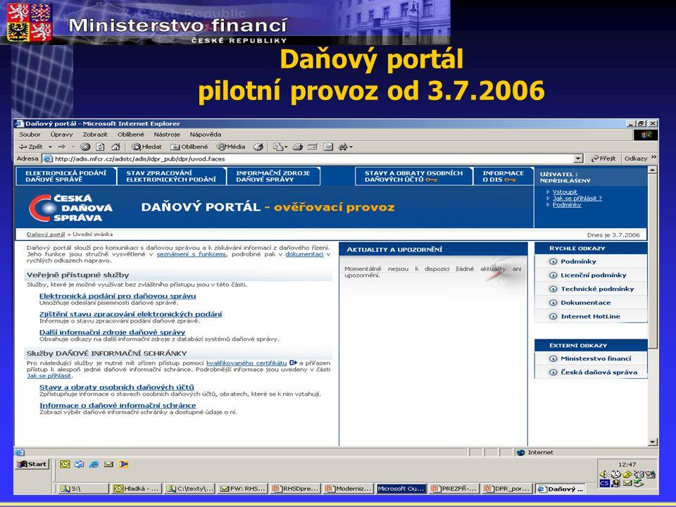 Daňový portál pilotní provoz od 3.7.2006