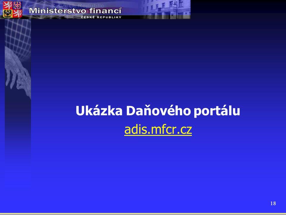 Ukázka Daňového portálu