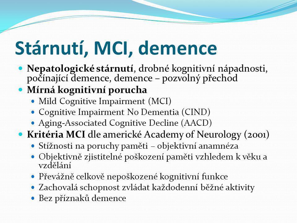 Stárnutí, MCI, demence Nepatologické stárnutí, drobné kognitivní nápadnosti, počínající demence, demence – pozvolný přechod.