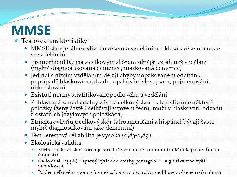 MMSE Testové charakteristiky