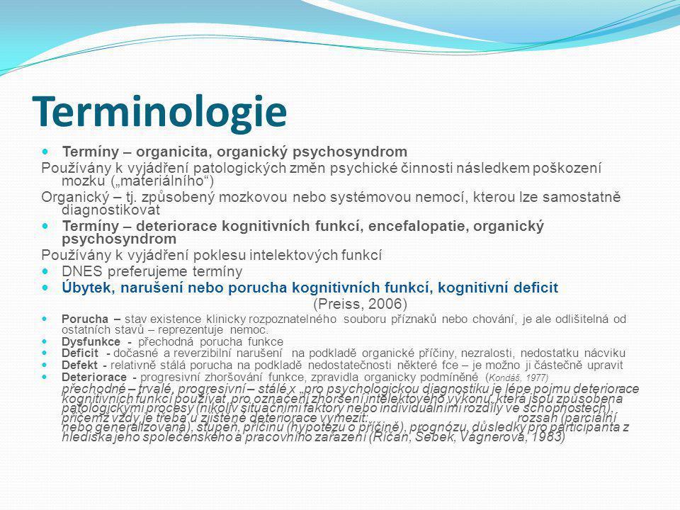 Terminologie Termíny – organicita, organický psychosyndrom