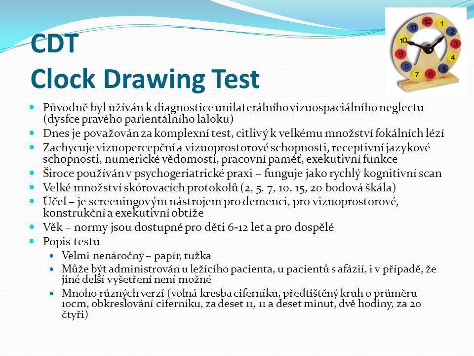 CDT Clock Drawing Test Původně byl užíván k diagnostice unilaterálního vizuospaciálního neglectu (dysfce pravého parientálního laloku)