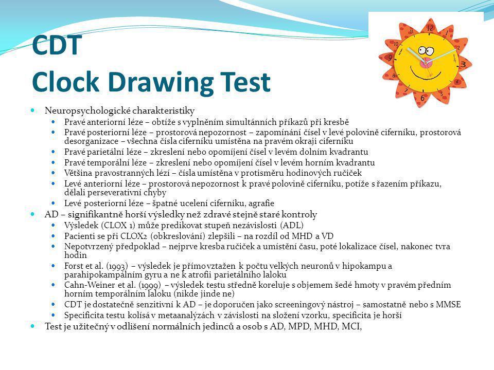 CDT Clock Drawing Test Neuropsychologické charakteristiky