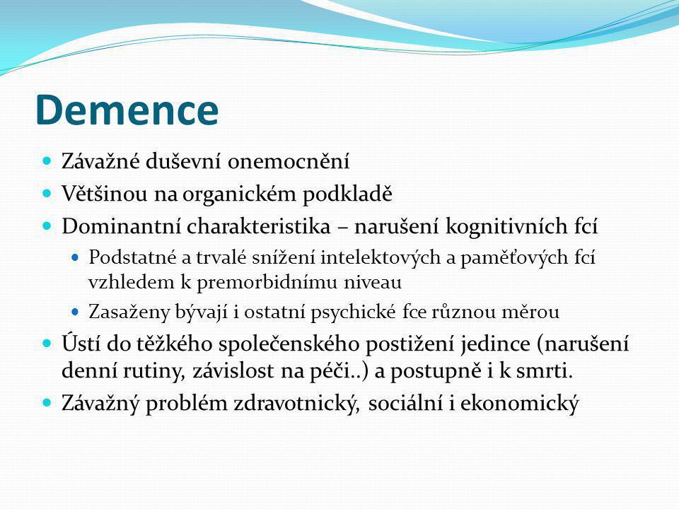 Demence Závažné duševní onemocnění Většinou na organickém podkladě